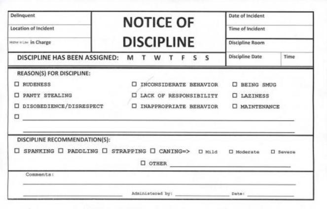 Discipline forms